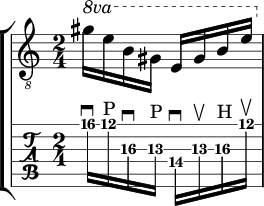 e major up and down